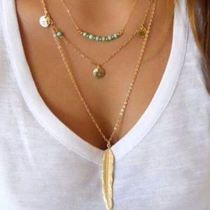 Accessories - 🍃💕🍃3 Layer Feather Necklace 🍃💕
